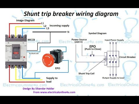 hqdefault shunt trip breaker wiring diagram in urdu & hindi how to shunt breaker wiring diagram at edmiracle.co