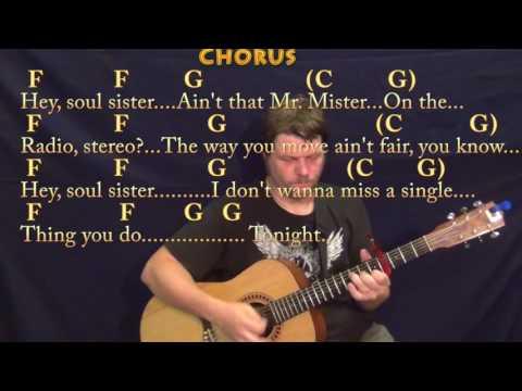 Hey Soul Sister (Train) Guitar Lesson Chord Chart with Chords/Lyrics - Capo 4th
