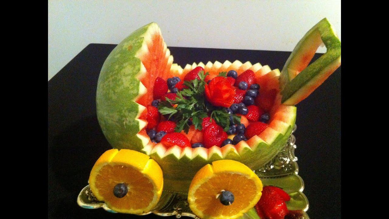 C mo hacer una carreola de una sandia para regalo o for Como secar frutas para decoracion