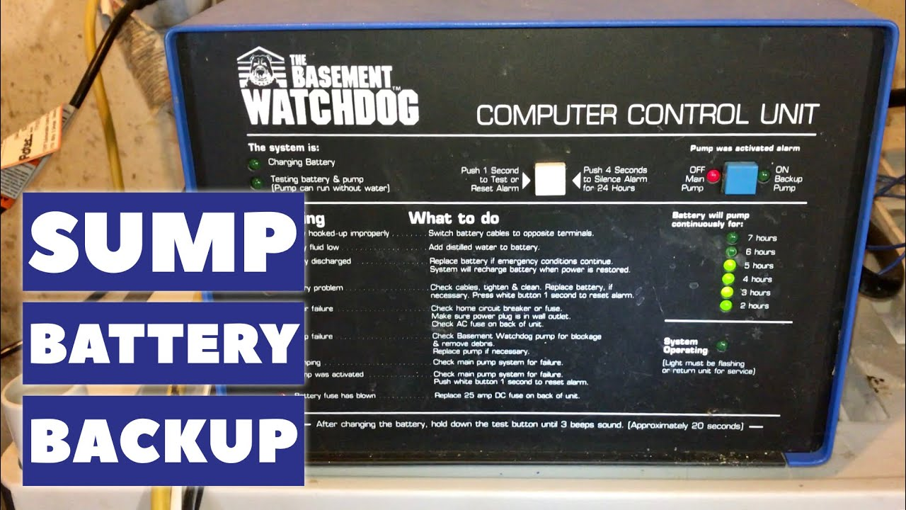 the basement watchdog emergency sump pump backup battery youtube rh youtube com