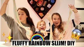FLUFFY RAINBOW SLIJM MAKEN! | DIY