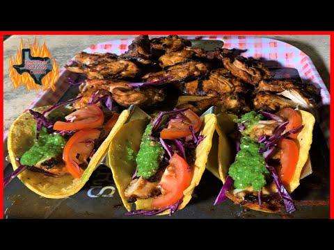Pollo Asado Tacos With Salsa Verde | Grilled Chicken Tacos Green Salsa Recipe On Santa Maria Grill