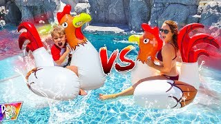 INFLATABLE POOL FLOATY BATTLE!!! 💥 (HILARIOUS!)