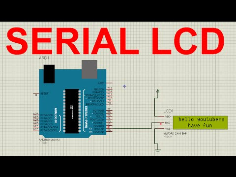 Arduino tutorial:serial lcd with arduino on proteus in hindi