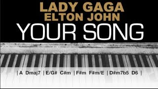 Lady Gaga - Your Song 2018 Elton John Karaoke Chords Instrumental Acoustic Piano Cover Lyrics