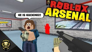 HE THINKS I'M HACKING in Arsenal (ROBLOX)
