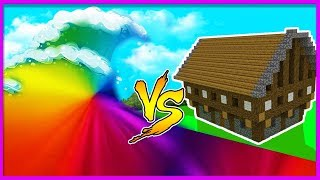Minecraft - RAINBOW SKITTLES TSUNAMI VS CANDY BASE