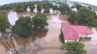 San Marcos, Texas October 30th 2015 Flood - Sewell Park Aerial Video