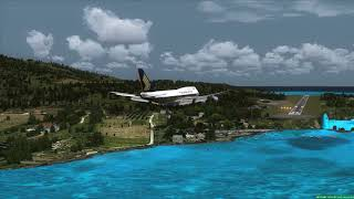 Landing at Skiathos Greece Singapore Airlines 747 ++ FSX