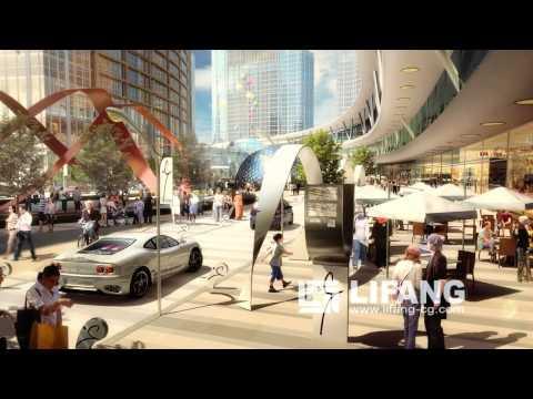Retail promenade architectural CGI fly-through