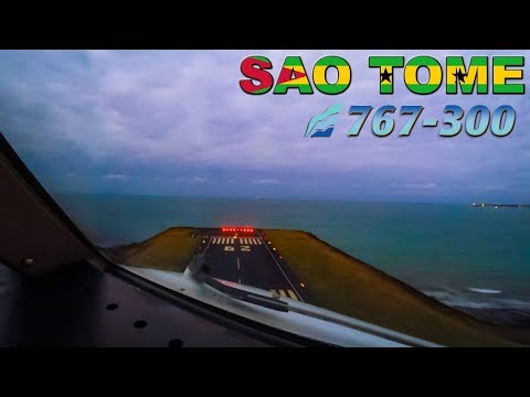 BOEING 767 Cockpit View on Takeoff SAO TOME