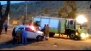 Accidente fatal en km 4: un joven fallecido. María Reartes, vía Whats App.