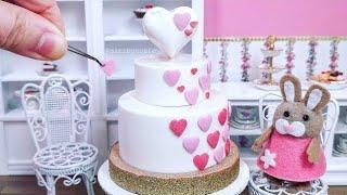 Miniature Edible White Chocolate 3D Heart Shaped Cake - Mini Food ASMR