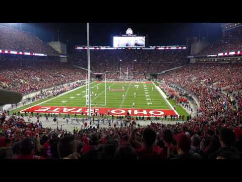 O H I O Cheer Around The Stadium With Cell Phone Lights Ohio State Marching Band 11 05 2016 OSU vs N