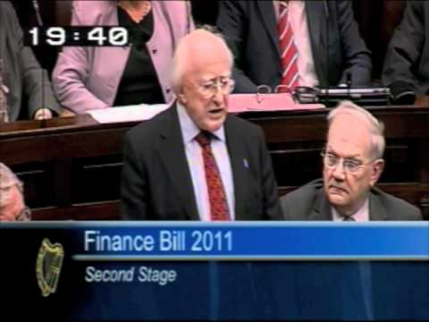 Michael D Higgins making his last speech in the Dail