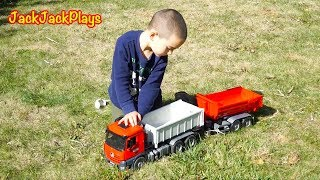 Bruder Dump Trucks Toy Unboxing - Kid Playing with Diggers + Truck Wash
