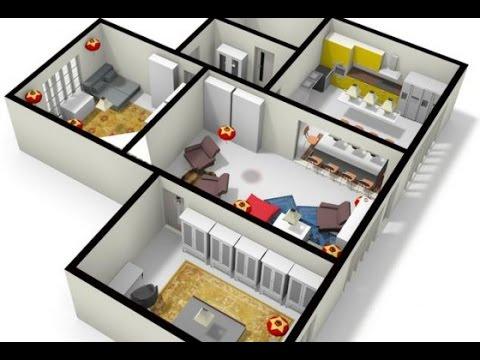 Planos de casas de 2 dormitorios en 3d youtube for Planos de casas 3d