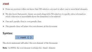 :root pseudo class selector used in HTML and CSS