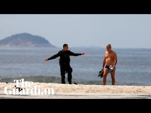 Police clear Rio's Copacabana beach after coronavirus lockdown