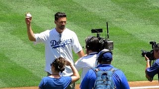 Actor Frank Grillo Throws First Pitch at @Dodgers