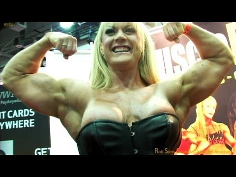 Lisa Cross Bodybuilder in the Muscle Pin-ups Booth at the Arnold Classic 2012