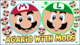 MODDED AGARIO MARIO AND LUIGI ADVENTURE TO THE TOP (THE MOST ADDICTIVE GAME - AGAR.IO #7)