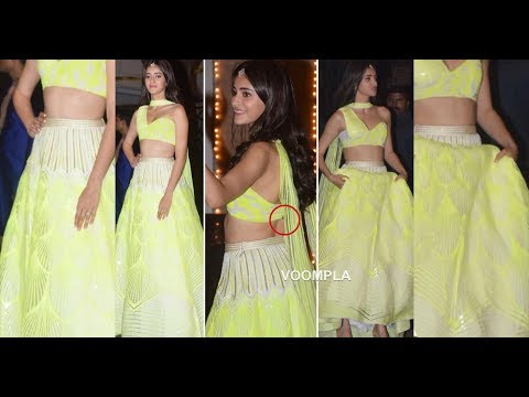 Ananya Pandey Super Hot Look In Traditional Neon Yellow Lehenga At Bachchan's Diwali Party Mp3