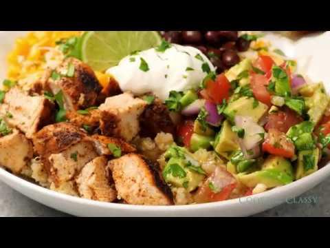 Grilled Chicken and Quinoa Burrito Bowls with Avocado Salsa