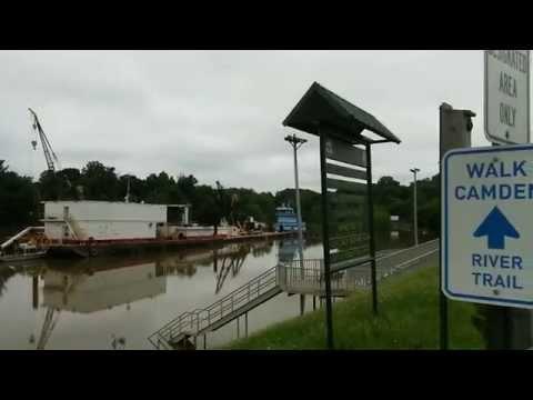 Camden Arkansas Flood water May 20, 2015. Ouachita River. High water. Dredge equipment.