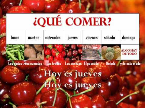 Qué comer? karaoke - Food vocabulary in Spanish with days of the week