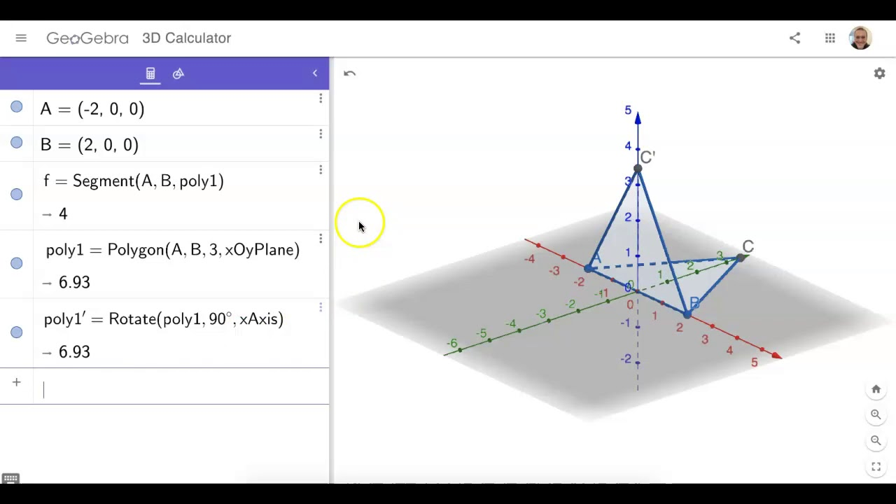 Build Equilateral TRI in MIDAIR in GeoGebra 3D: Method 2 (Use REGULAR POLYGON & ROTATE tools)