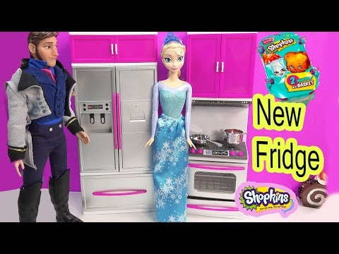 Disney Frozen Queen Elsa New Fridge & Shopkins Season 3 Blind Bag Surprise Prince Hans Toy Unboxing