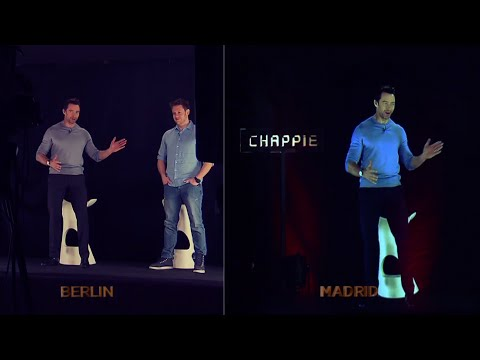 Chappie Hologram Berlin to Madrid - Hugh Jackman & Neill Blomkamp