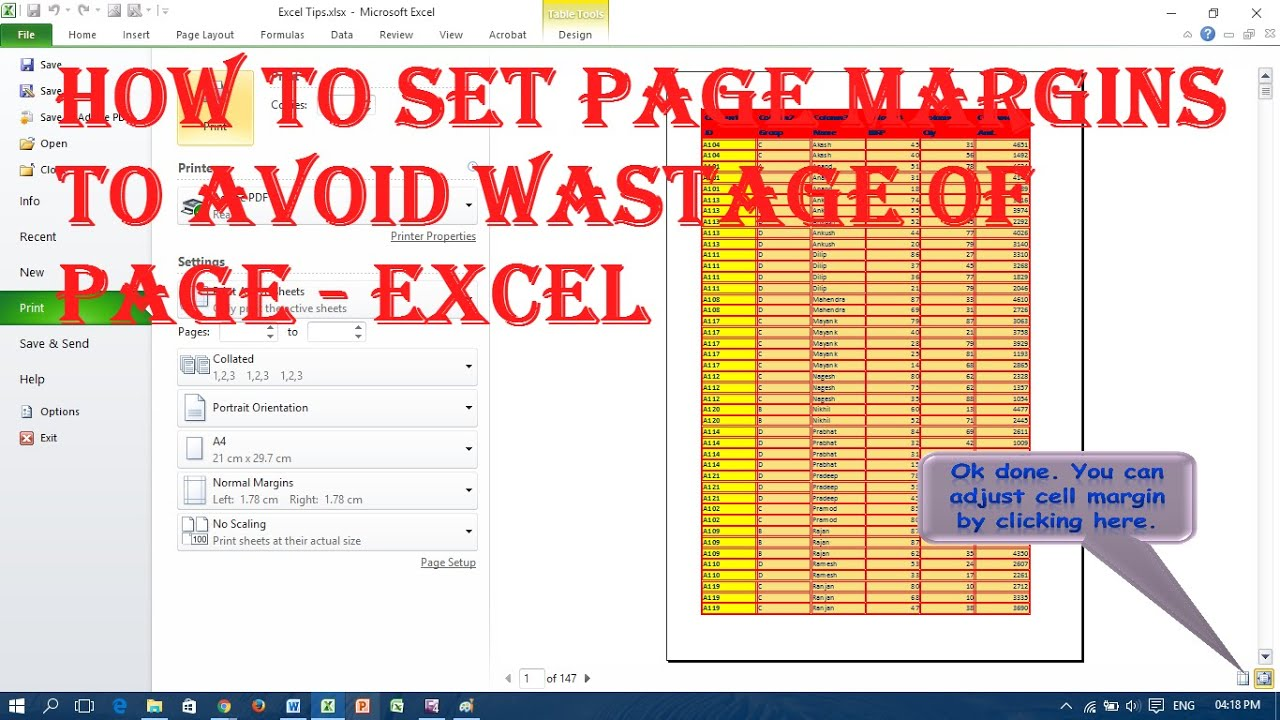 how to set page margins to avoid wastage of page excel how to set page margins to avoid wastage of page excel
