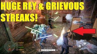 Star Wars Battlefront 2 - Unbelievable Rey streak! | Huge General Grievous Killstreak! (2 games)