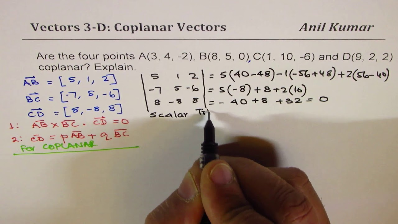 Download Are the Four Points Coplanar Vectors Strategy Triple Product and Linear Combination