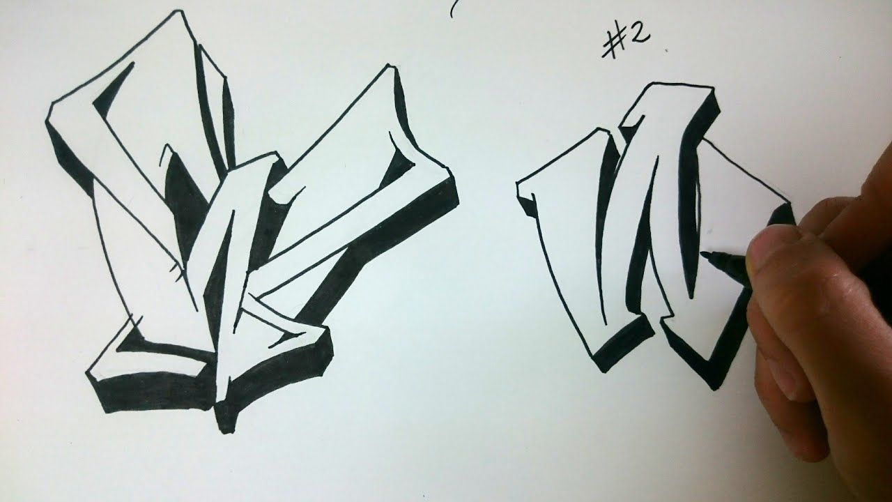 how to draw graffiti letter quotwquot on paper youtube