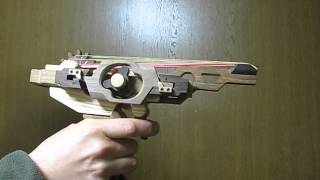 『 Owl 』 木の脱進機構式連射ゴム銃(フルオート・セミオート切替可)