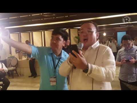Duterte, Bong Go, Harry Roque perform at Malacañang Xmas party
