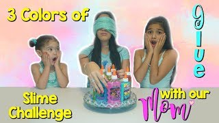 3 Colors of Glue Slime Challenge with our BFF our Mom