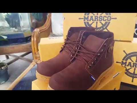 Sepatu Boots Safety Saku Marsco coklat