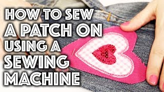 How to Sew on a Patch on a Home Sewing Machine | Sew Anastasia