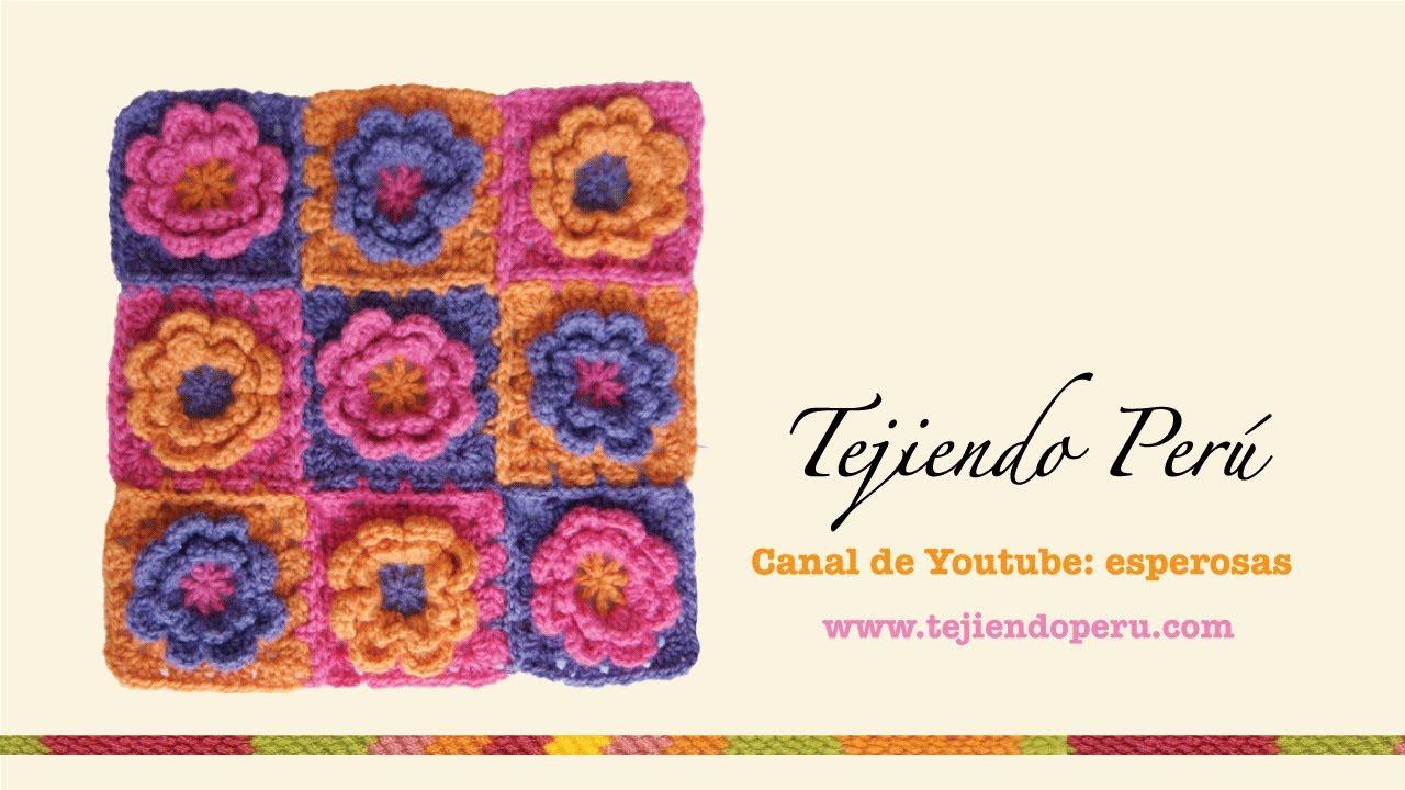Motivo Cuadrado A Crochet Con Flor En Relieve Youtube
