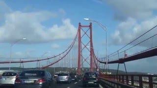 Crossing the 25 de Abril Bridge, Lisbon