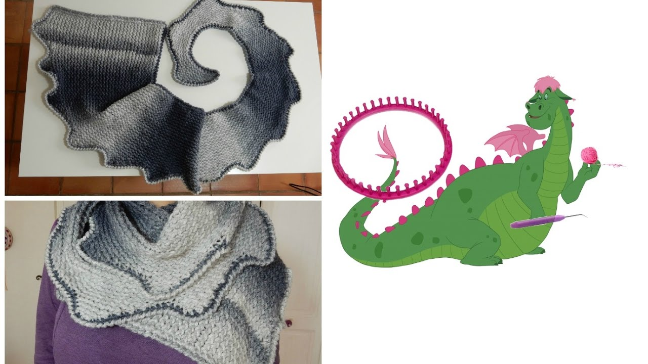 17eb7b19fb37 Tricotin - Echarpe queue de dragon I Loom Knitting   DIY français ...
