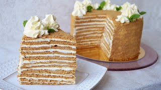 Торт Карамельный медовик с кремом Пломбир Cake Caramel honey cake with cream Plombir