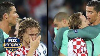 Cristiano Ronaldo consoles Luka Modric after Portugal knocks Croatia out of Euros