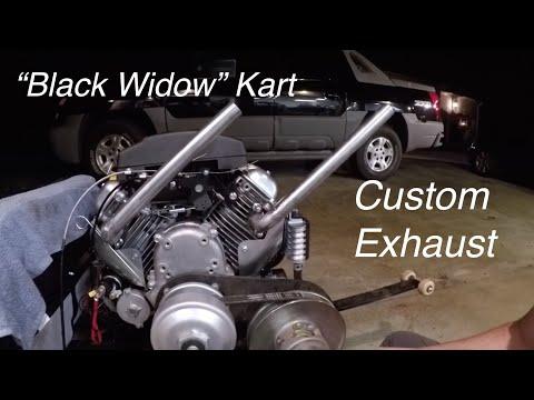 V Twin Go Kart Custom Header, Intake Mods, Black Widow Paint