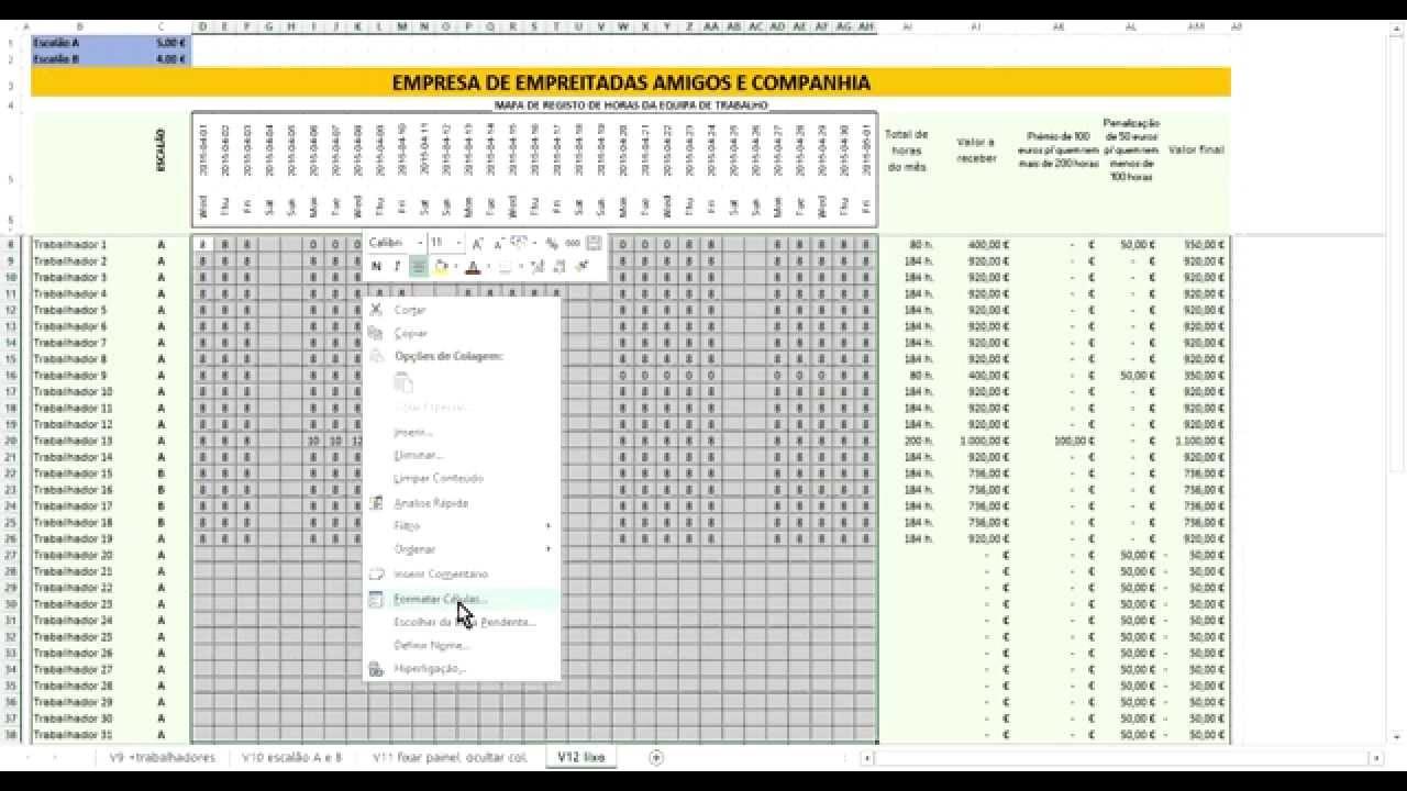 mapa de banco de horas Mapa de registo de horas em Excel   YouTube mapa de banco de horas