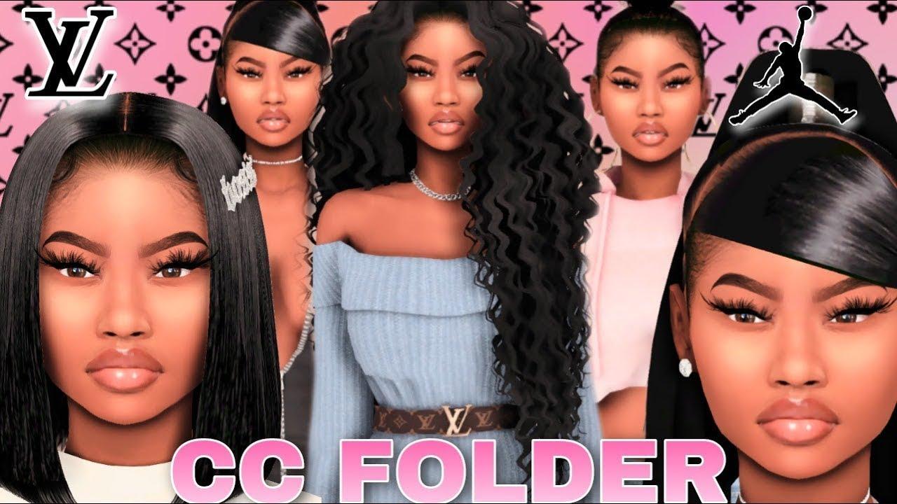 ✨ URBAN BLACK GIRL CC FOLDER & SIM DOWNLOAD   HAIR, EDGES, LV+MORE   SIMS  15 LOOKBOOK